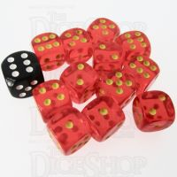 Role 4 Initiative Translucent Red & Gold 12 x D6 14mm Dice Set