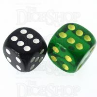 Role 4 Initiative Translucent Green & Gold 18mm D6 Spot Dice