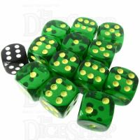 Role 4 Initiative Translucent Green & Gold 12 x D6 18mm Dice Set