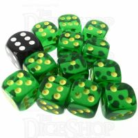 Role 4 Initiative Translucent Green & Gold 12 x D6 14mm Dice Set