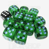 Role 4 Initiative Translucent Green & Blue 12 x D6 18mm Dice Set