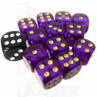 Role 4 Initiative Translucent Purple & Gold 12 x D6 14mm Dice Set