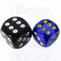 Role 4 Initiative Translucent Blue & Gold 14mm D6 Spot Dice