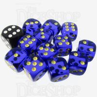 Role 4 Initiative Translucent Blue & Gold 12 x D6 14mm Dice Set