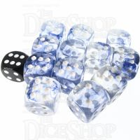 Role 4 Initiative Diffusion Blue Ink & White 12 x D6 18mm Dice Set