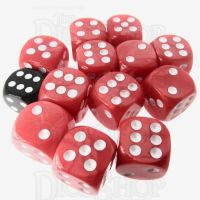 Role 4 Initiative Marble Red & White 12 x D6 18mm Dice Set