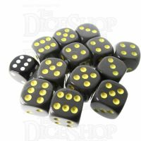 Role 4 Initiative Opaque Grey & Gold 12 x D6 18mm Dice Set