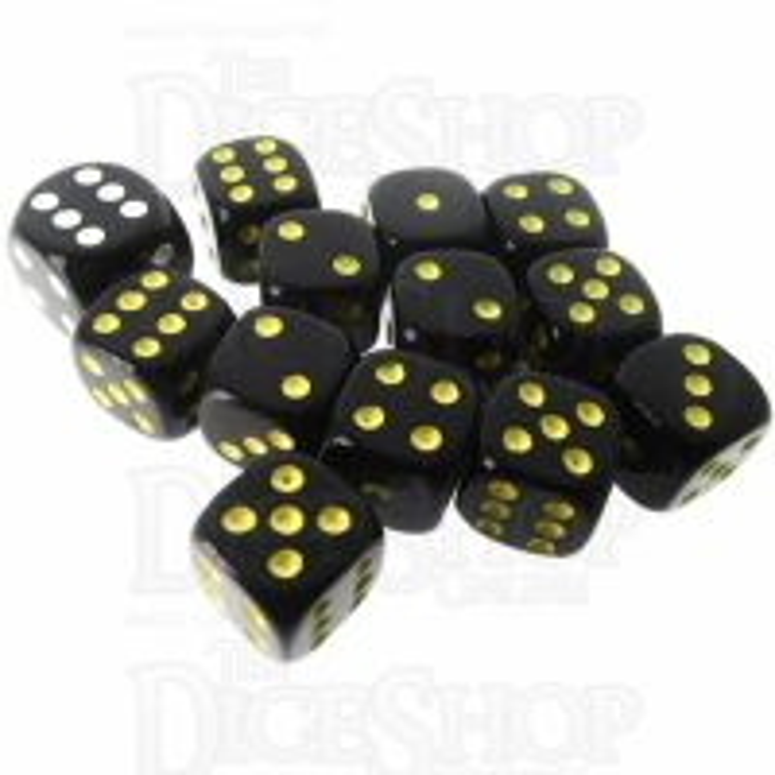 Role 4 Initiative Opaque Black & Gold 12 x D6 14mm Dice Set