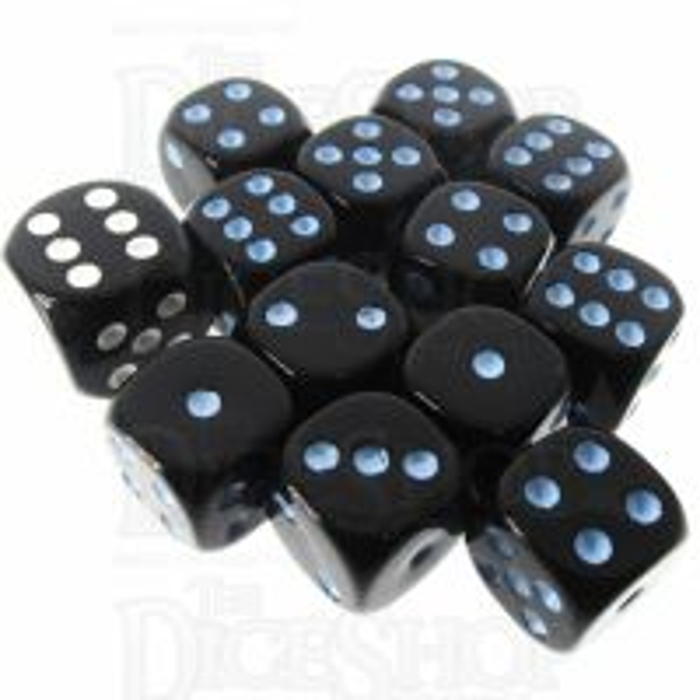 Role 4 Initiative Opaque Black & Blue 12 x D6 14mm Dice Set