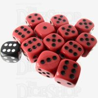 Role 4 Initiative Opaque Red & Black 12 x D6 18mm Dice Set