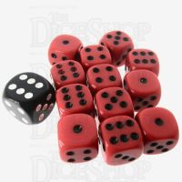 Role 4 Initiative Opaque Red & Black 12 x D6 14mm Dice Set