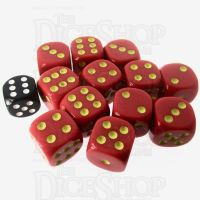 Role 4 Initiative Opaque Red & Gold 12 x D6 18mm Dice Set