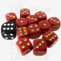 Role 4 Initiative Opaque Red & Gold 12 x D6 14mm Dice Set