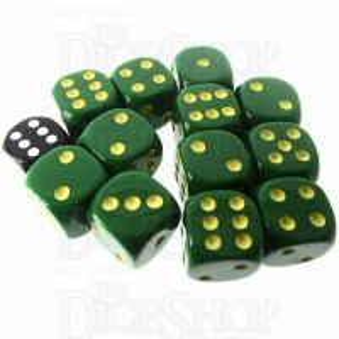 Role 4 Initiative Opaque Green & Gold 12 x D6 18mm Dice Set