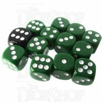 Role 4 Initiative Opaque Green & White 12 x D6 14mm Dice Set