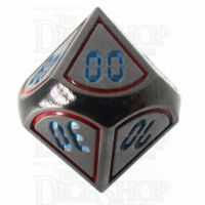 TDSO Metal Tech Black Nickel Red & Blue Percentile Dice