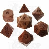 TDSO Red Sandalwood Wooden 7 Dice Polyset