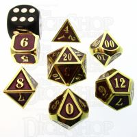 TDSO Metal Fire Forge Gold & Purple MINI 12mm 7 Dice Polyset