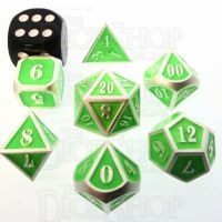 TDSO Metal Fire Forge Silver & Fluorescent Green MINI 12mm 7 Dice Polyset
