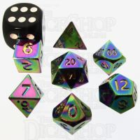 TDSO Metal Iridescent Rainbow MINI 10mm 7 Dice Polyset