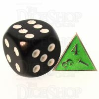 TDSO Metal Fire Forge Silver & Fluorescent Green MINI 12mm D4 Dice