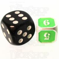 TDSO Metal Fire Forge Silver & Fluorescent Green MINI 12mm D6 Dice