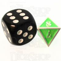 TDSO Metal Fire Forge Silver & Fluorescent Green MINI 12mm D8 Dice