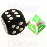 TDSO Metal Fire Forge Silver & Fluorescent Green MINI 12mm D10 Dice