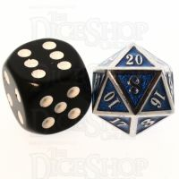 TDSO Metal Fire Forge Silver & Sapphire Blue MINI 12mm D20 Dice