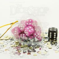 TDSO Valentines Day Heart Bauble - Duel Pink & White 12 x D6 Dice Set