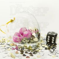 TDSO Valentines Day Heart Bauble - Duel Pink & White MINI 10mm 7 Dice Polyset