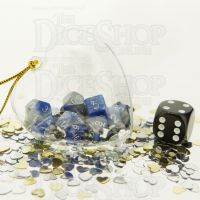 TDSO Valentines Day Heart Bauble - Duel Blue & Steel MINI 10mm 7 Dice Polyset