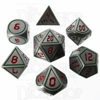 TDSO Metal Tech Steel Green & Red 7 Dice Polyset