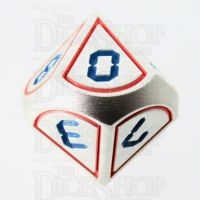TDSO Metal Tech Steel Red & Blue D10 Dice