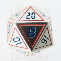 TDSO Metal Tech Steel Red & Blue D20 Dice