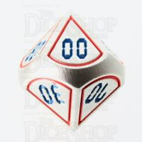 TDSO Metal Tech Steel Red & Blue Percentile Dice
