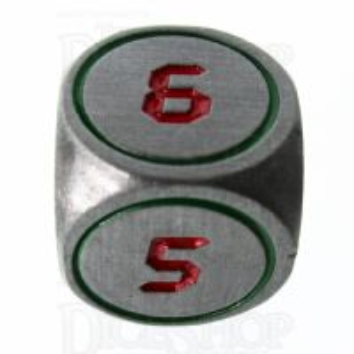 TDSO Metal Tech Steel Green & Red D6 Dice