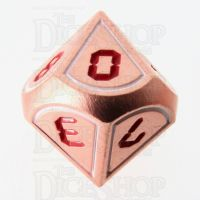 TDSO Metal Tech Copper White & Red D10 Dice