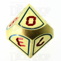 TDSO Metal Tech Gold Blue & Red D10 Dice