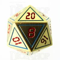 TDSO Metal Tech Gold Blue & Red D20 Dice