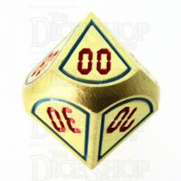 TDSO Metal Tech Gold Blue & Red Percentile Dice