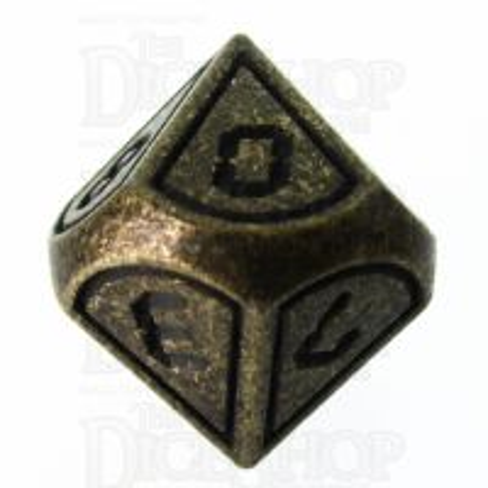 TDSO Metal Tech Antique Gold & Black D10 Dice