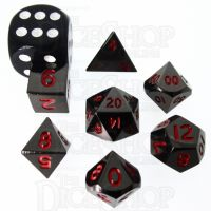 TDSO Metal Black Nickel & Red MINI 10mm 7 Dice Polyset