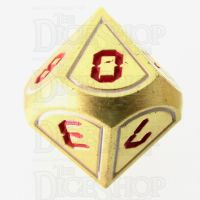 TDSO Metal Tech Gold White & Red D10  Dice