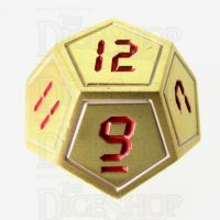 TDSO Metal Tech Gold White & Red D12  Dice