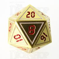 TDSO Metal Tech Gold White & Red D20  Dice