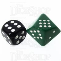 Chessex Opaque Green & White 20mm D10 Spot Dice