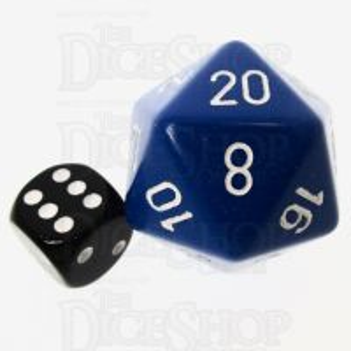 Chessex Opaque Blue & White JUMBO 34mm D20 Dice