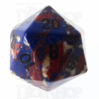 TDSO Turquoise Multi Fire Synthetic 16mm Stone D20 Dice