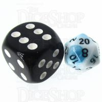 TDSO Duel Teal & White MINI 10mm D20 Dice